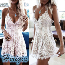 Summer Dresses Sexy Womens Lace Hollow Out  Mini Dress V-Neck High Waist Sleeveless Strapy Short