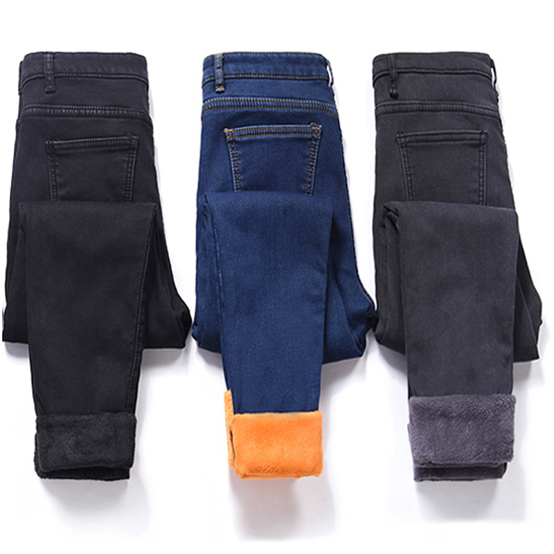 Winter Thick   Jeans   Velvet Warm Women Denim Pants Elastic High Waist Slim Plus Size Trousers Pantalon Femme Skinny   Jeans   Woman