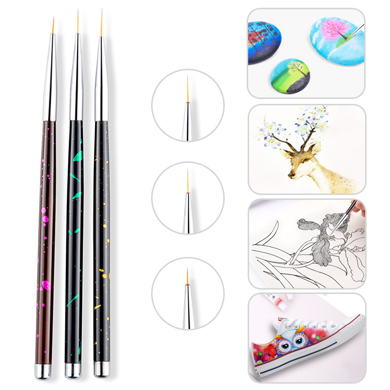 3pcs/set Black Fine Nail Paint Brushes Artist Watercolor Gouache Painting Sketching Brush Pen School Art Supplies Stationery