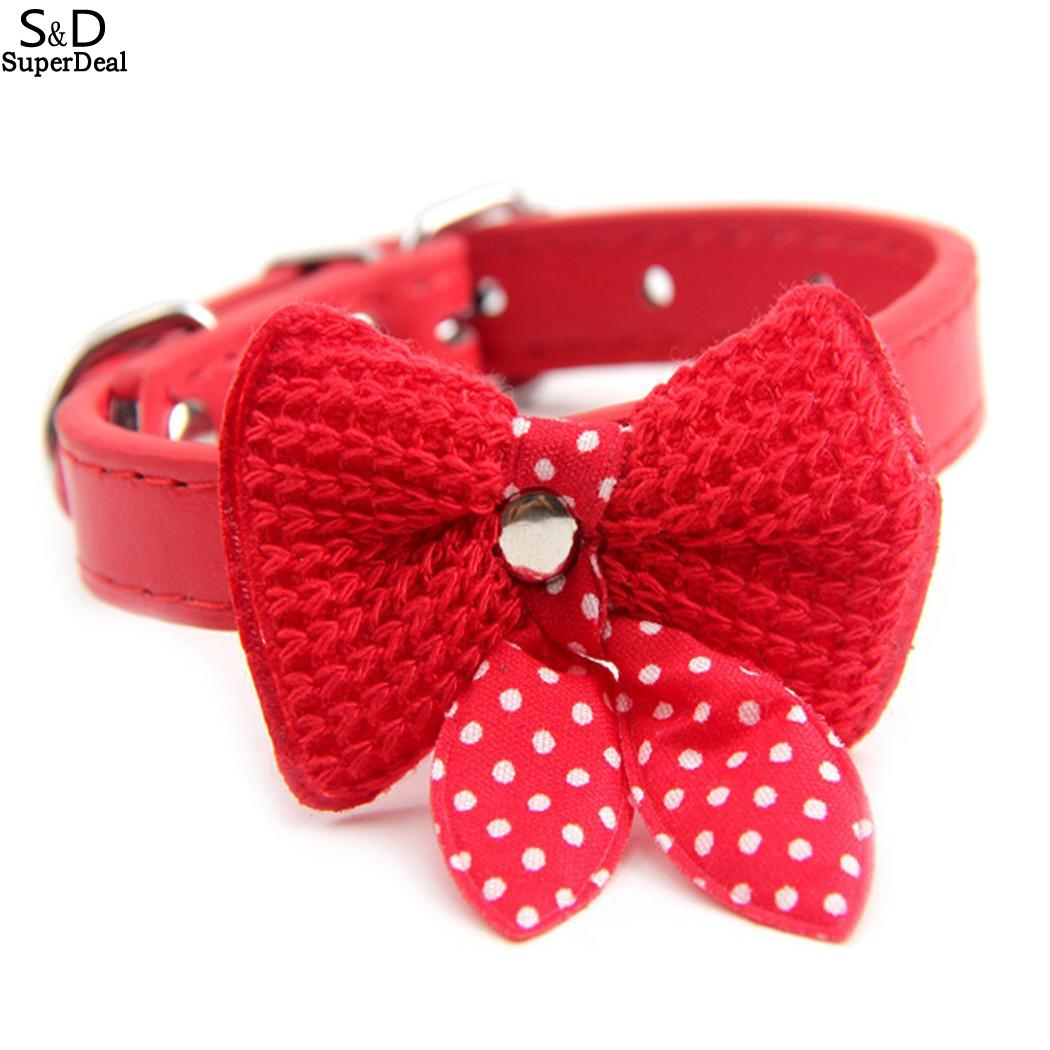 L <font><b>W</b></font> Pet <font><b>15</b></font> Buckle <font><b>0</b></font> Dog Dot <font><b>5</b></font> Unisex with 5cm Bell Collar Style Cat Bow Collar 37 6inch Bow Casual 1 Tie Adjustable Wool image
