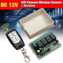 CLAITE Wireless 433mHz Remote Control Switch Universal DC 12V 4 Channel 4CH Controller 200m Transmitter + Receiver