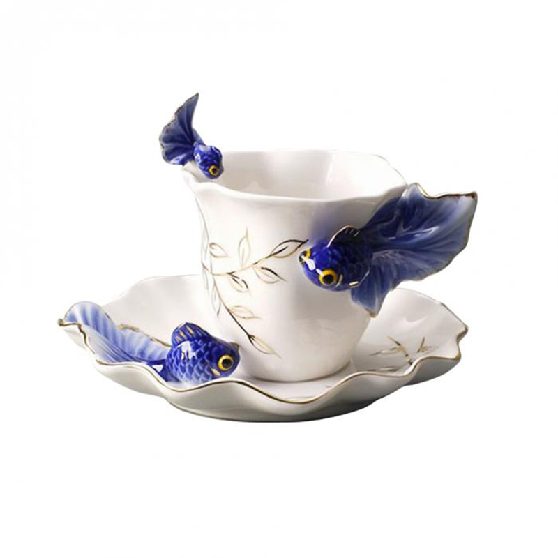 Creatieve Thee Cups Delicate Koffie Sets Goudvis Koffie Cups Pak Keramische Francs Gekleurde Tekening Of Patroon Mooie Mode Gift Comfortabel Gevoel