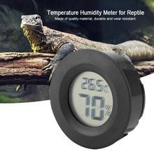 Стиль Цифровой термометр гигрометр круглой формы ЖК-дисплей рептилия аквариум датчик измерителя температуры и влажности
