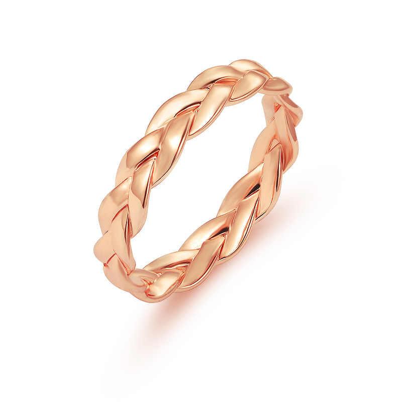 e0e8a3e1cc216 Creative Chain Ring Simple Winding Twist Rose Gold Ring for Female ...