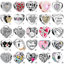 S925 Silver Charms Pendant Crystal Enamel Love Heart Shape Bead Fit Original European Charms Bracelet Chain Bangles Jewelry G(China)