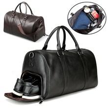 Duża torba podróżna czarna Fitness joga torby na ramię oddzielna przestrzeń na buty torebki mężczyźni skórzany bagaż Sac De Storage Package tanie tanio Aequeen Waterproof Travelling Bag zipper Wszechstronny 21cm Miękkie Torby podróżne 45cm Stałe Moda Mcrofiber Leather