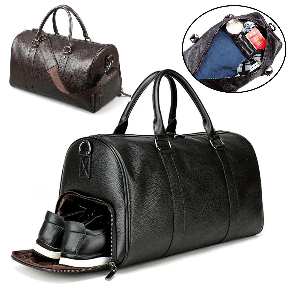 Large Travel Bag Black Fitness Yoga Shoulder Bags Separate Space For Shoes Handbags Men Leather Luggage Sac De Storage Package