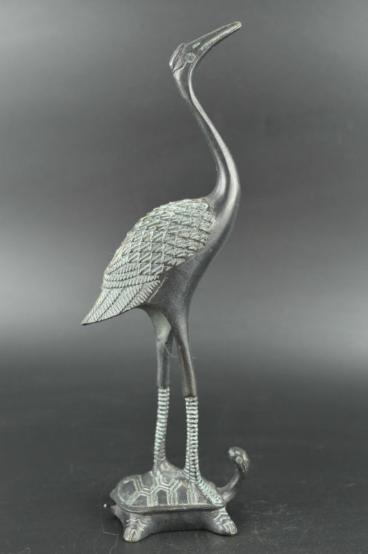 China Bronze Carve Vivid Turtle Carry Crane Stand For Longevity Rare Statue