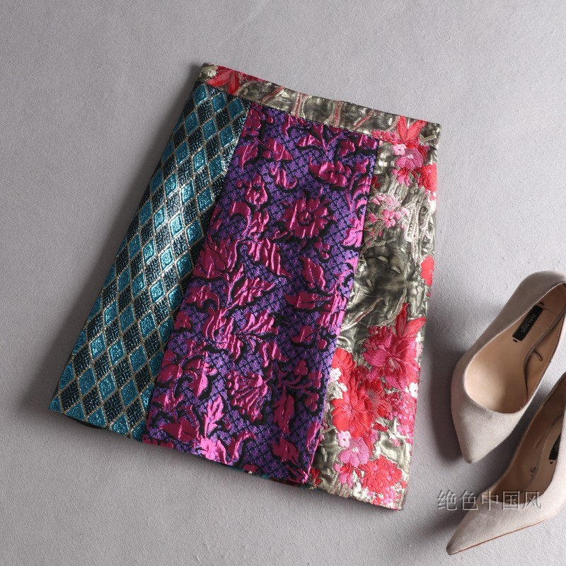 Tótem Del Versátil Nuevo Verde Botón Decoración Multi Otoño Slim Rojo 2019 Impreso Jacquard Mosaico Cortas Geométrico invierno Faldas Púrpura ZYzxnq7wBR