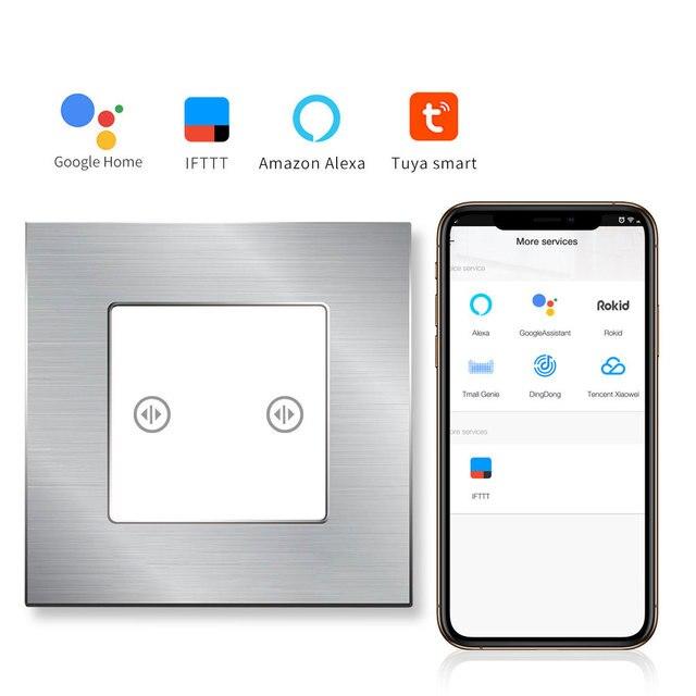 Interruptor de pared de Panel de vidrio de marco de aluminio de Interruptor táctil Wifi de cortina bingoeléctrica Control inalámbrico de automatización de hogar inteligente por Tuay APP
