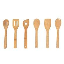 Набор кухонных принадлежностей для кухонного инструмента с 6 шт. бамбуковая ложка идеально подходит для антипригарных кастрюль и посуды