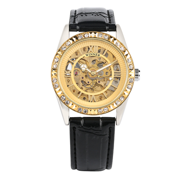 Women's Skeleton Watch Mechanical Watch Automatic Self-Winding Luxury Golden Watch Diamonds Hollow-Out Carved Gold Case