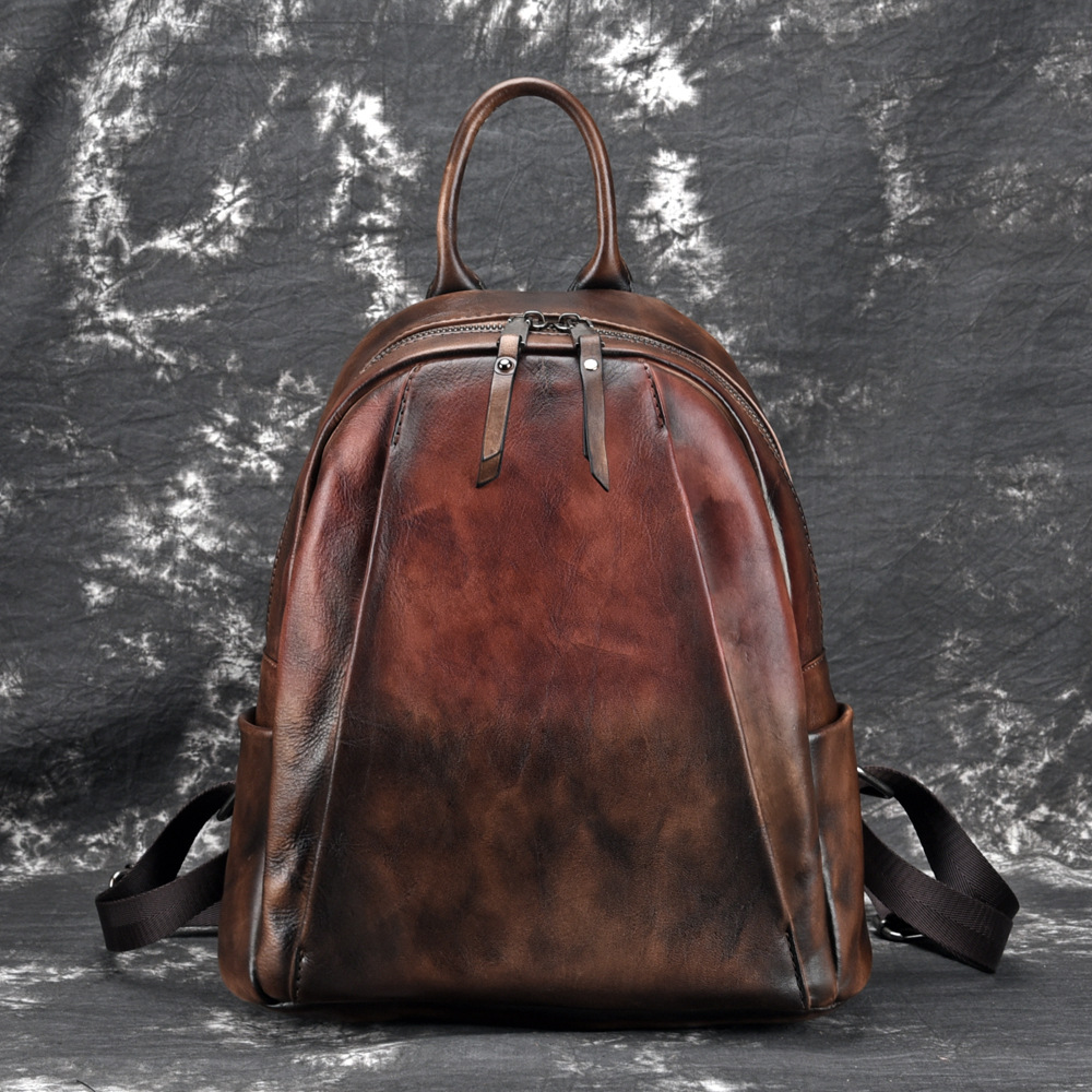 Natural Skin High Quality Rucksack Travel Bag Vintage Brush Color Daypack Knapsack Women Genuine Leather BackpackNatural Skin High Quality Rucksack Travel Bag Vintage Brush Color Daypack Knapsack Women Genuine Leather Backpack