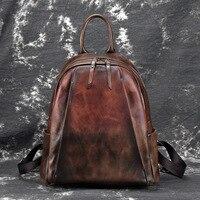 Natural Skin High Quality Rucksack Travel Bag Vintage Brush Color Daypack Knapsack Women Genuine Leather Backpack
