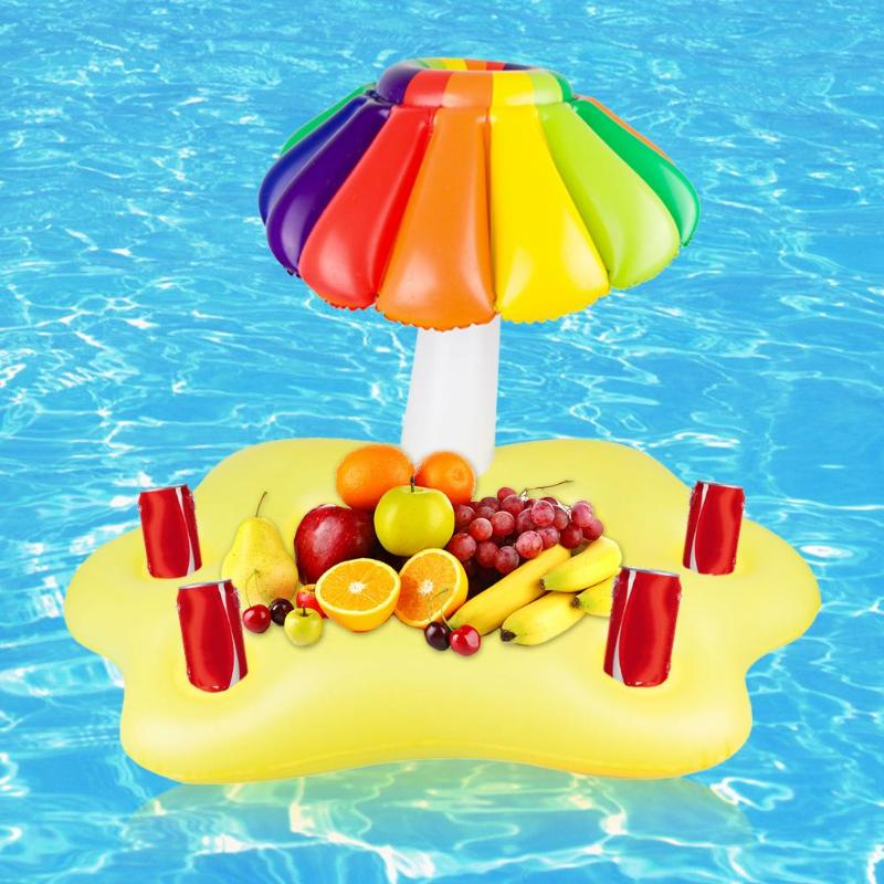 Summer Party Bucket Sun Umbrella Cup Holder Inflatable Pool Float Beer Drink Cooler Table Bar Tray B