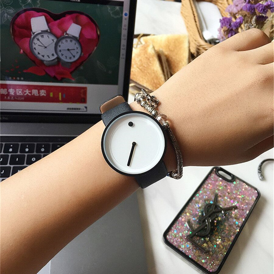 2018 Minimalist style creative women wristwatches black & white new design Dot and Line simple stylish quartz fashion watches 2
