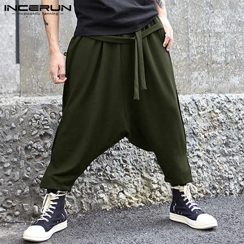 Incerun 2020 Kasual Celana Hip Hop Celana Pria Celana Panjang Harem Pergelangan Kaki Panjang Patchwork Cross-Celana DROP Pantalon Hombre Longgar celana
