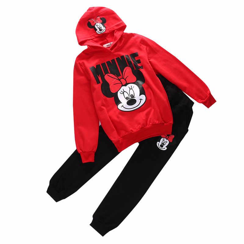 ebd41c645 ... Fashion Baby Girls Cartoon Minnie Mouse Clothing Set Hooded Coat+Pants  2pcs Tracksuit Outfits Kids ...