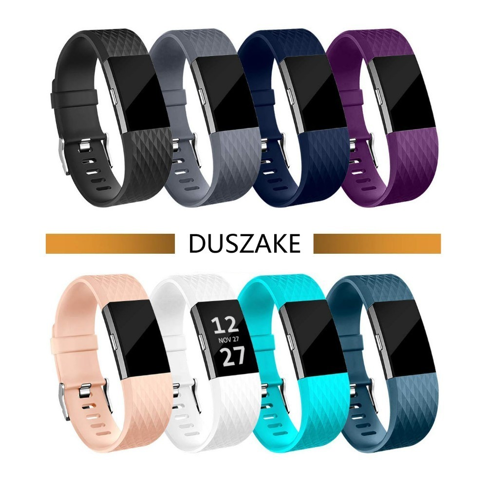 DUSZAKE Silicon Wrist Strap For Fitbit Charge 2 Band Smart Watch Accessories For Fitbit Charge 2 Strap Smart Wristband Strap