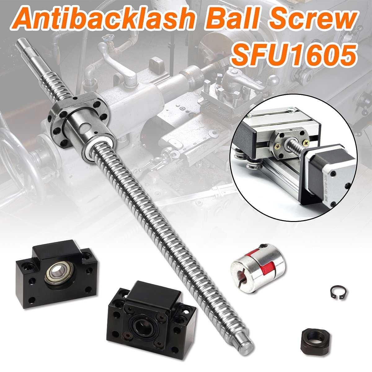Set of Antibacklash Ball Screw SFU1605 1605-L360mm-C7 + BK/BF12 + 2pcs 6.35x10mm CouplersSet of Antibacklash Ball Screw SFU1605 1605-L360mm-C7 + BK/BF12 + 2pcs 6.35x10mm Couplers