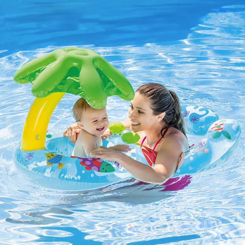 Parent-Child Inflatable Swimming Ring Swim Pool Circle Baby Beach Water Toy Inflatable Parent-Child Swimming Ring PNLO
