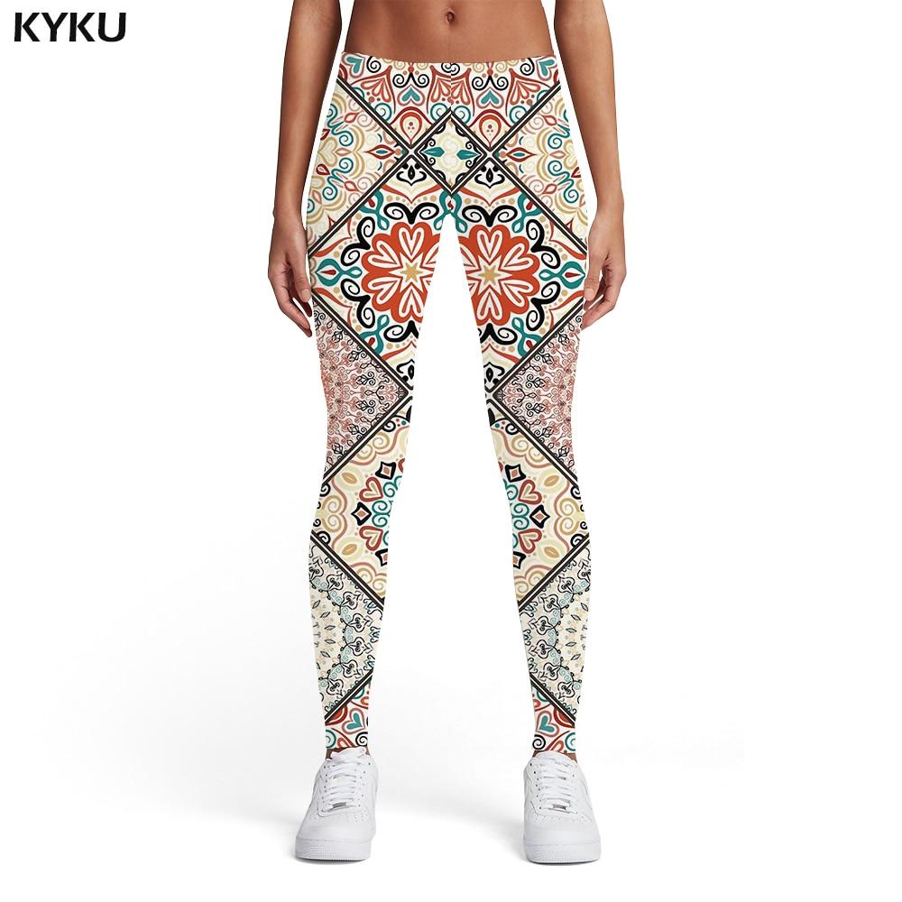 KYKU Psychedelic Leggings Women Pattern Ladies Colorful Sport Art Elastic Vintage Spandex Womens Leggings Pants Fitness