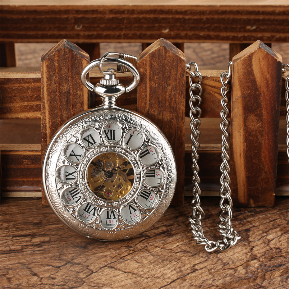 Luxury Vintage Mechanical Pocket Watches For Men Women Roman Numerals Display Silver/Gold Half Hunter Pendant Watches Gifts Male
