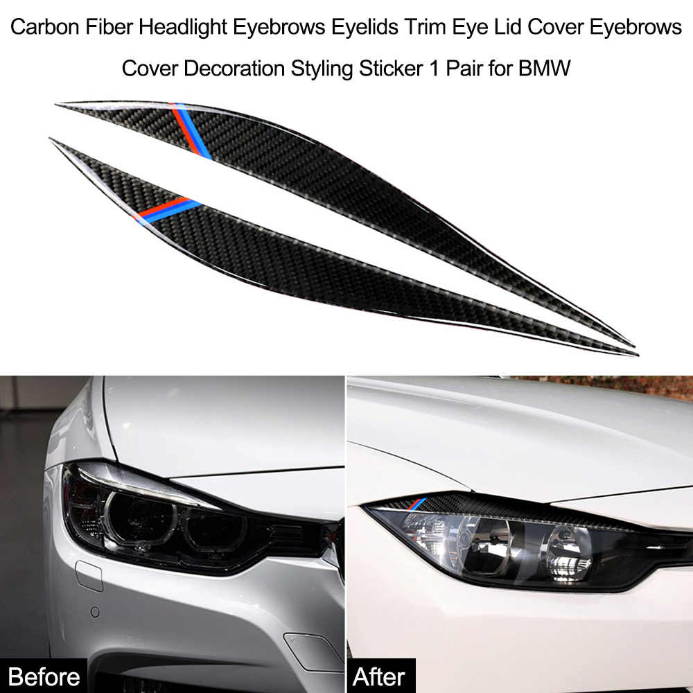 Carbon Fiber Headlight Eyebrows Rearview Mirror Anti-Rub Strips Sticker Cover Exterior Decoration for BMW F30 F34 320i 325i 316i