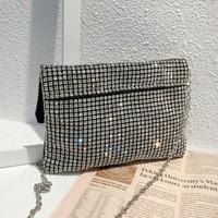 Telastar Luxury Brand Woman New Style Fashion Diamond Clutch Lady Messenger Bag Rhinstones Weave Handbag Silver 2019 New