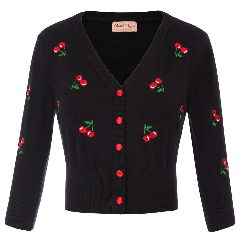 Beautiful Coat Women Button Down Knitwear Cherries Embroidery Coat Soft Sweet Spring Sweater Cardigan Tops Ladies Jacket Shrug