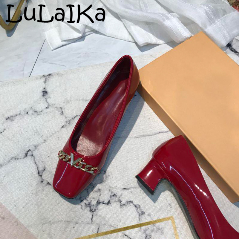 New Brand  Woman Square head Pumps Shoes Fashion Patent Leather Metal decoration 2018 Winter Elegant Lady Party High HeelsNew Brand  Woman Square head Pumps Shoes Fashion Patent Leather Metal decoration 2018 Winter Elegant Lady Party High Heels