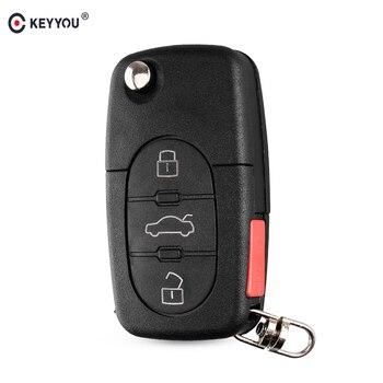 Chiave Telecomando per Audi TT A4 A6 A8 S4 S6 S8 Old Models CR1620/CR1616 3 Tasti Flip Folding Remote Key Case Shell HU66 Blade