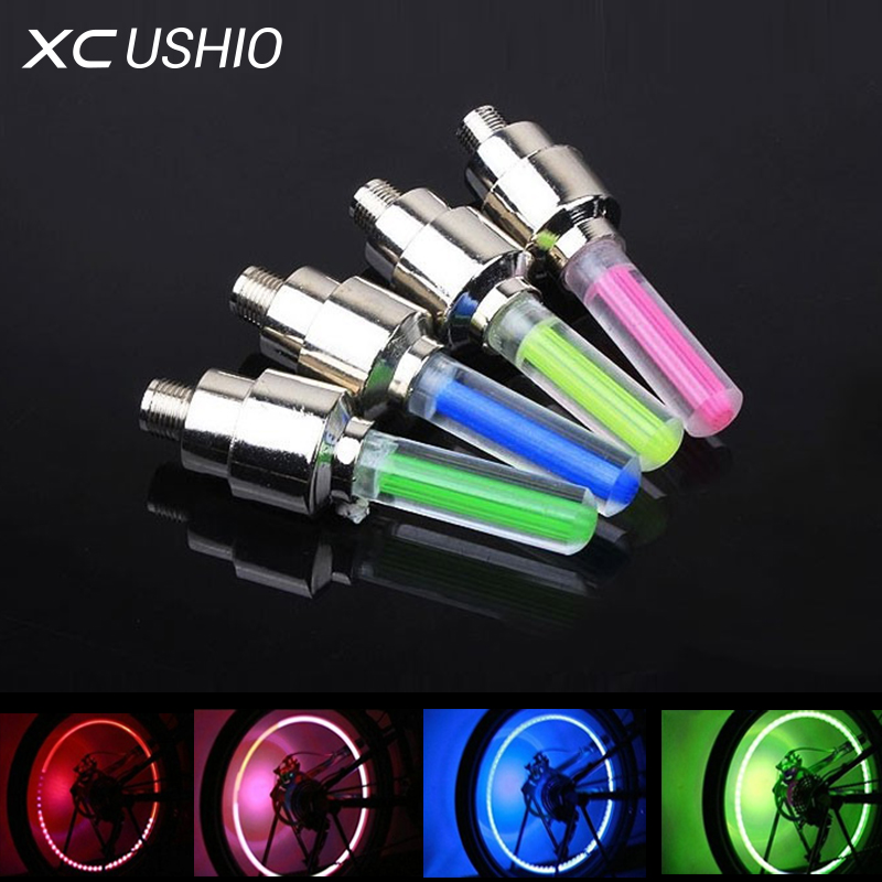 LED Bike Lights Wheel Tire Valve Bicycle Light Cycling Spoke Warning Lamp Front lights for Bicycle Taillight Flashlight 5 Colors
