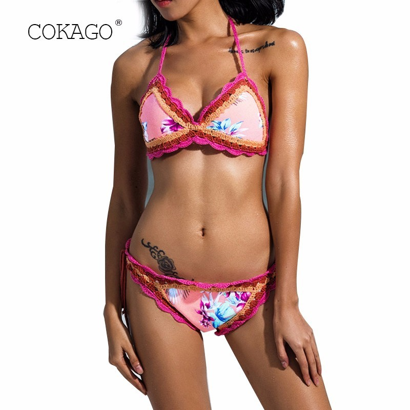 COKAGO Handwork Croche Bikini 2019 Women Bathing Suit Sexy Beach Wear Floral Tassel String Bikini Set Swimwear Female Swimsuit