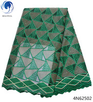 Beautifical african lace fabric dress green lace fabric 2018 net lace fabrics for clothing cheap price 5 yards/lot design 4N625