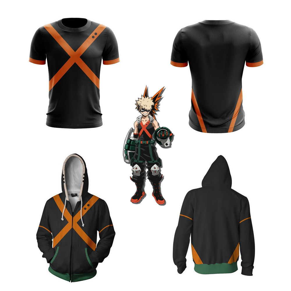 My Hero Academia Bakugou Katsuki Cosplay Costume My Hero Academia Hoodies 3d Printed Zip-up Hoodies For Men Women Sport Sweater