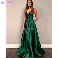 YNQNFS P28 Sexy Bust Open V Neck Satin Dress Evening Party 2019 Emerald Green Long Prom Dresses
