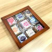 Wooden Tea Storage Boxes Organizers Transparent Candy Coffee Canister Case Jewelry Stationery Case 9 Grid Sealed Storage Bins
