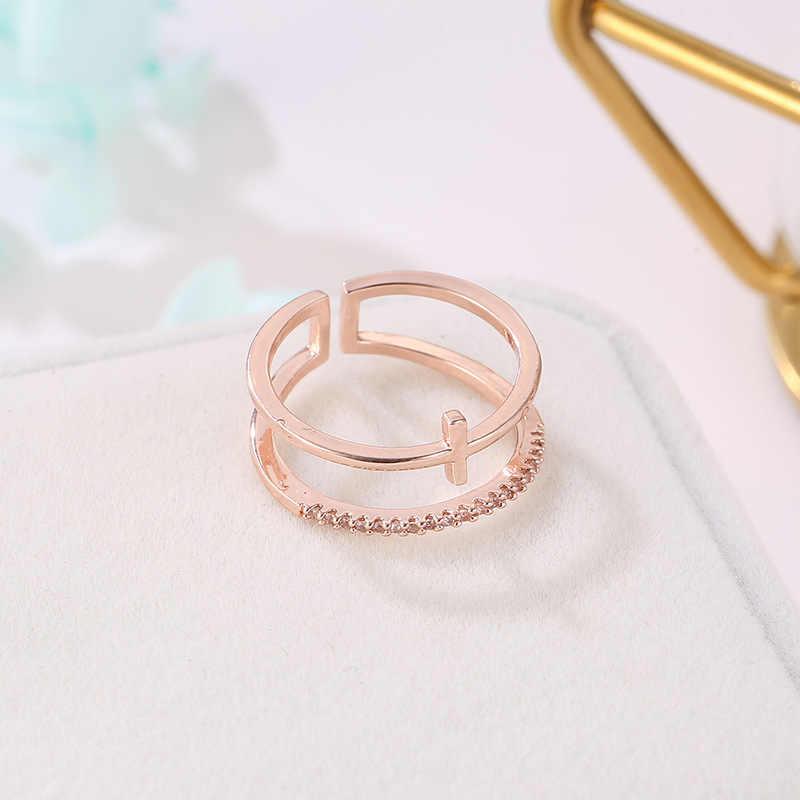 Mossovy Rose Gold Zircon เปิดแหวนสำหรับหญิงหญิงแฟชั่นยอดนิยม Rhinestone งานแต่งงานแหวนเครื่องประดับ