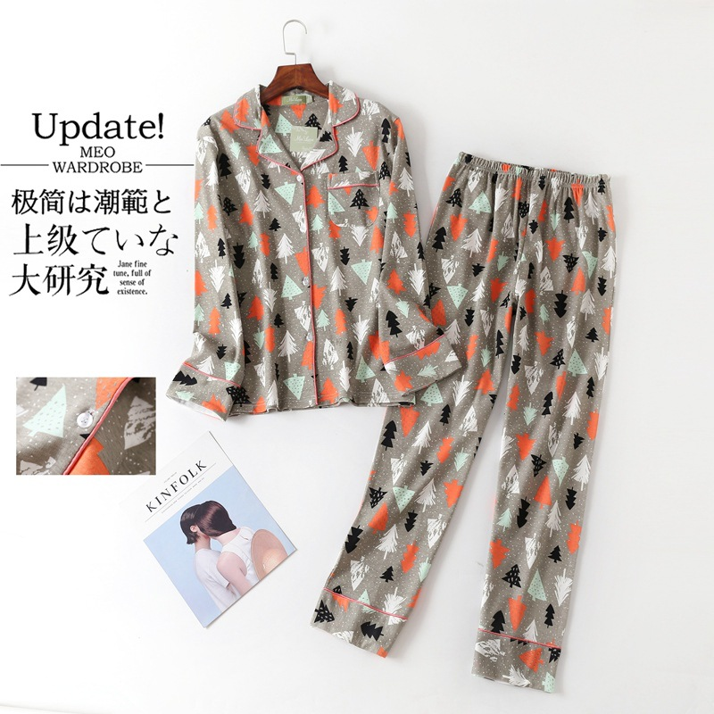 New Winter Long-sleeved Pants Cotton Womens   Pajama     Set   Cartoon Full Length   Pajamas   for Women Leisurewear Sleepwear Home Clothes