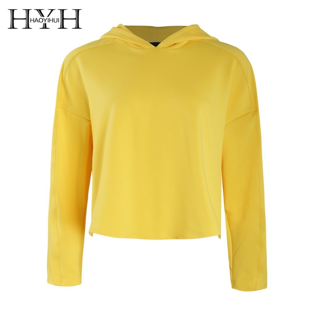 HYH HAOYIHUI  2019 Girl Simple Style Street Easy Short Jacket Long Sleeve Solid Color