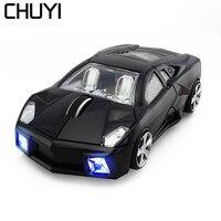 CHUYI Sport Auto Geformte Maus 2 4g Drahtlose Optische Spiel Maus mit LED Blinklicht Mause Gamer Gaming Mäuse für PC Laptop