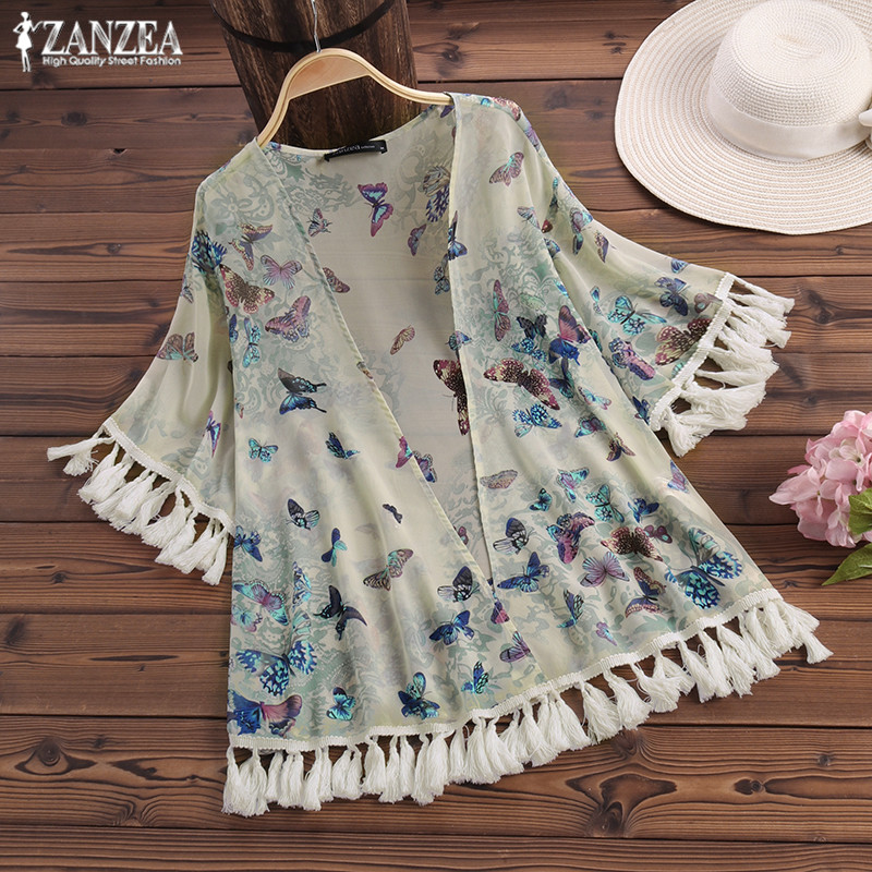 Women Tops Blouse ZANZEA 2019 Summer Loose Shirt Print Kimono Cardigan Tops Blusa Feminina Beach Covers Up Outwear Oversize in Blouses amp Shirts from Women 39 s Clothing