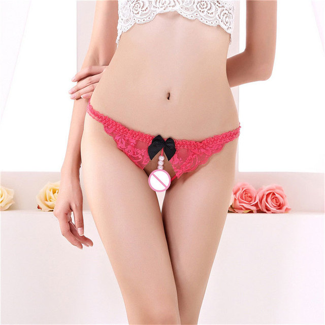 Sexy G-string Women Underwear Thong Bow Lace Crotchless Intimates Sexy Panties Women Female Briefs With Pearl Beads Sex G String