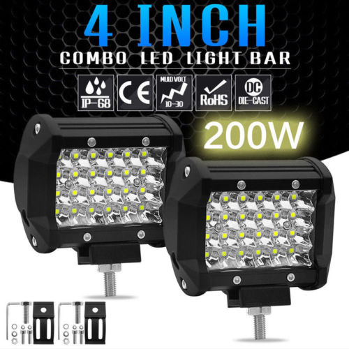 200W 4''  LED Work Light Flood Beam Spotlight Truck Light For Jeep Motorcycles Offroad 4x4 ATV 4WD SUV UAZ Car Fog Light
