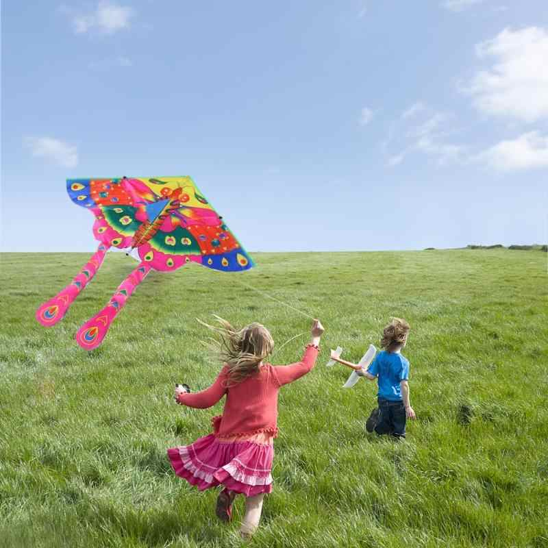 90x50cm בהיר בד צבעוני פרפר עפיפון חיצוני מתקפל ילדים עפיפונים ילדי ילדים אינטראקטיביים מצחיק ספורט משחק צעצועים משחק