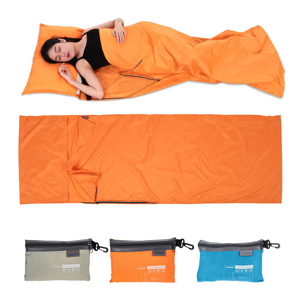 TOMSHOO 70*210CM Outdoor Travel Camping Hiking Polyester Pongee Healthy Sleeping Bag Liner with Pillowcase Portable Lightweight