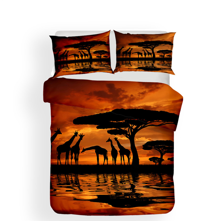 Image 2 - Bedding Set 3D Printed Duvet Cover Bed Set Giraffe Home Textiles for Adults Lifelike Bedclothes with Pillowcase #CJL03-in Bedding Sets from Home & Garden