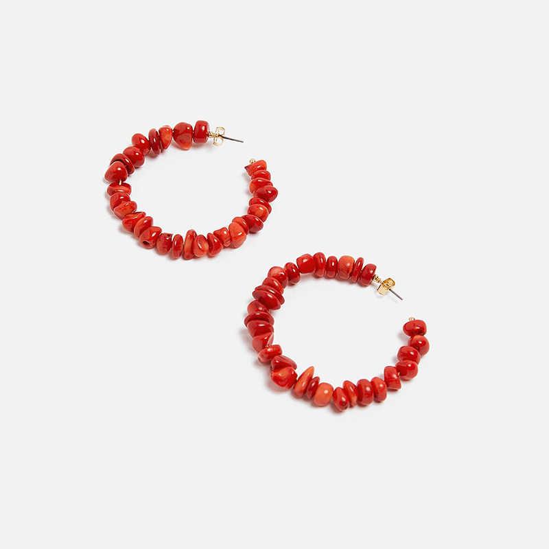 2019 Fashion ZA Coral Red stone Big Round Drop Earrings For Women Bohemian geometry boho Statement Earrings Gifts Jewelry