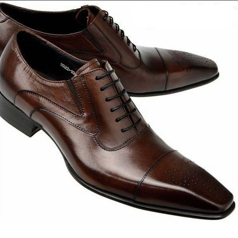 Elegant Leather Shoes Men Large Size 11 12 British Derby Shoes Business Man Pointed Toe Formal Dress Wedding Shoes Hight End Formal Shoes